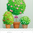 Royalty-Free Stock Vector Image: Pot flowers and trees
