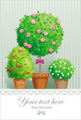 Pot flowers and trees — Stock Vector