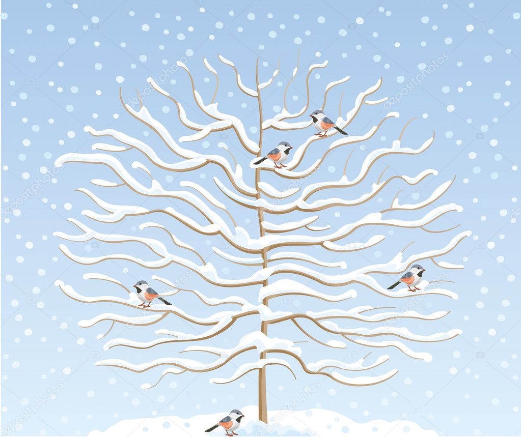 Winter tree in the snow with birds on branches — Stock Vector #8878309