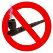 Wooden carved smoking pipe with prohibitory sign — Stock Photo #10059710