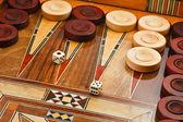 2 dice on the backgammon desk — Stock Photo