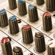 Controllers of audio mixing console close-up. — Foto Stock