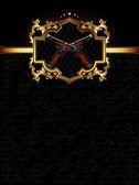 Ornate golden frame with guns — Stock Vector