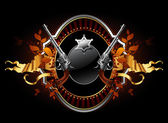 Sheriff star with guns ornate frame — Stock Vector