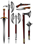 Set of ancient weapon — Stock Vector