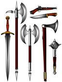 Verzameling van oude wapen — Stockvector