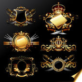 Set of ornamental golden labels — Stock Vector