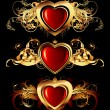 Heart forms with ornate elements - Stock Vector