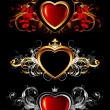 Heart forms with ornate elements — Stock Vector