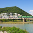 Bridge through mountain river - Foto Stock