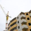 Crane on the construction of a dwelling house — Stock Photo
