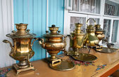 Samovar in the museum of samovars in Gorodets — Stock Photo