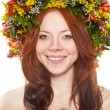 Flower wreath on head over white — Stock Photo