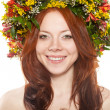 Flower wreath on head over white — Stockfoto