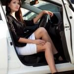 Sexy woman in car — Stock Photo