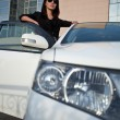Womstanding near car, wide angle — Stock Photo #8115207