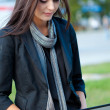 Woman working with laptop outdoors — Stock Photo #8115695