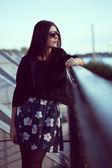 Fashion model wearing sunglasses — Stock Photo
