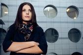 壁の上の女性の肖像画 — ストック写真