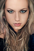 Closeup žena tvář portrét — Stock fotografie