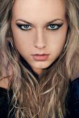 Closeup retrato de rosto de mulher — Foto Stock