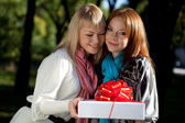 Two happy sisters with gift in the park — Stock Photo