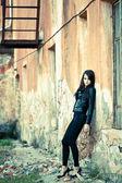 Woman wearing leather jacket — Stock Photo
