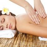 Woman receiving back massage — Stock Photo #8962406