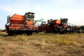 Color photo of old combine harvesters. — Stock Photo