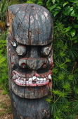 Traditional korea wood sculpture in jeju island — Stock Photo