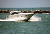 Speeding Cabin Cruiser — Stockfoto