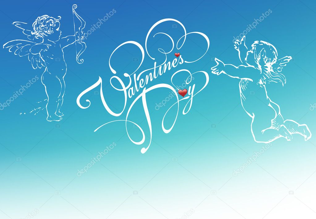 Red heart and angel on blue sky background — Stock Photo #9206639