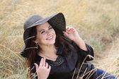 Smart lady in black bonnet — Stockfoto