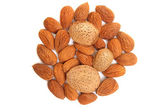 Almond nuts isolated — Stock Photo