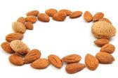 Almond frame — Stock Photo
