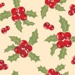Royalty-Free Stock Vector Image: Seamless background with holly berry.