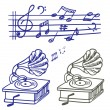Music doodle. Set of vector music note and gramophone doodle. — Vector de stock
