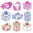 Hand-Drawn. Set of Gift boxes. Doodle. — Stock Vector