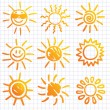 Suns . Elements for design. Doodles. — Stock Vector