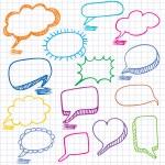 Vector bubbles for speech. Seamless doodle background. — Stock Vector