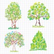 Set of beautiful green trees. Doodle. — Stock Vector