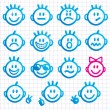 Set of faces with various emotion expressions. — Stock Vector