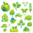Set of environmental icons and green design-elements. — Stock Vector