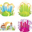 Royalty-Free Stock Vector Image: Set of cityscapes.