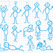 Set of funny cartoon little man with various emotion expressions. BUSINESS — 图库矢量图片
