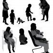 Vector de stock : Set of family silhouettes.