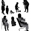 Royalty-Free Stock Vectorafbeeldingen: Set of family silhouettes.