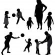 Set of family silhouettes. — Stockvektor #8347337