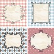 Stock Vector: Vintage frames on the old fabric. Set.