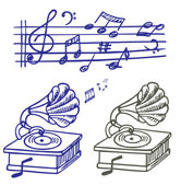 Music doodle. Set of vector music note and gramophone doodle. — Stock Vector